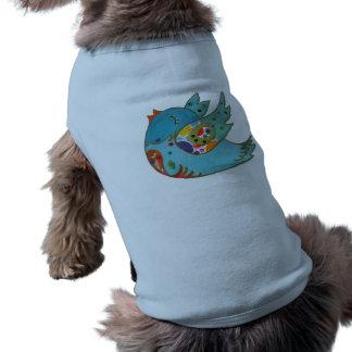 Cute bird flying and singing sleeveless dog shirt