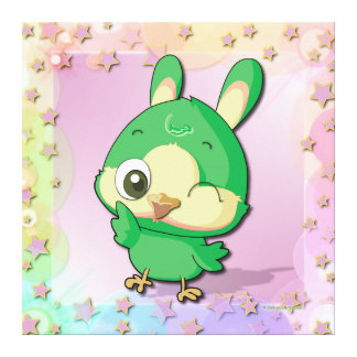 Cute Bird Funny Cartoon Character Kawaii Canvas Gallery Wrap Canvas
