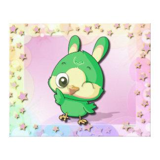 Cute Bird Funny Cartoon Character Kawaii Canvas Stretched Canvas Print