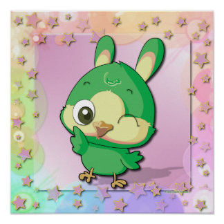 Cute Bird Funny Cartoon Character Kawaii Poster