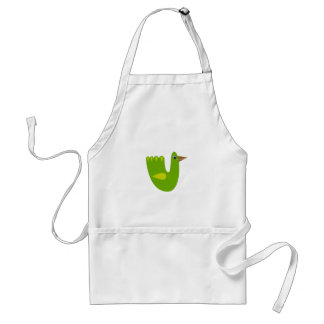 Cute bird green on white standard apron