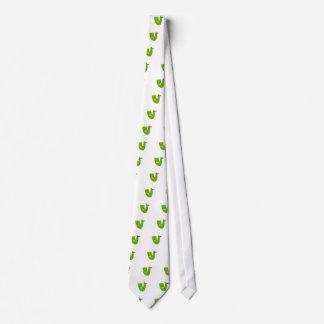 Cute bird green on white tie