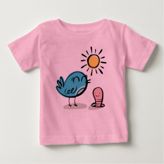 Cute bird greeted by worm baby T-Shirt