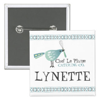 Cute bird kitchen whisk bakery name tag button