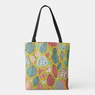 Cute bird/Leaf Pattern Tote Bag