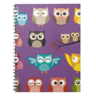 Cute Bird Pattern Spiral Notebook Design