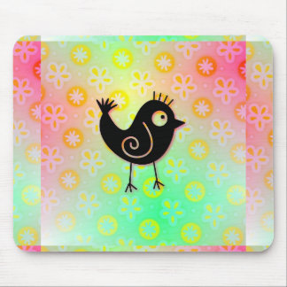 Cute Bird Pink and Lime Green Girlie Mouse Pad