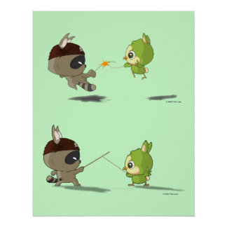 Cute bird raccoon fencing cartoon character poster