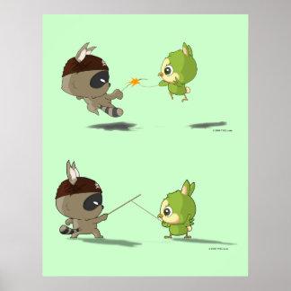 Cute bird raccoon fencing cartoon character poster