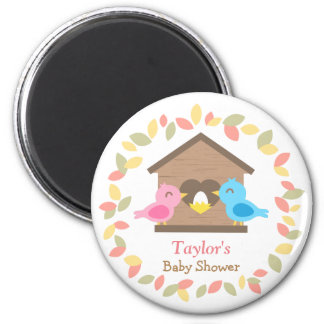 Cute Birdhouse Leaves Wreath Bird Baby Shower Magnet