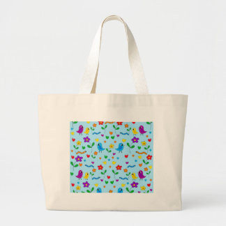 Cute birds and flowers - blue large tote bag