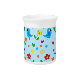 Cute birds and flowers - blue pitcher