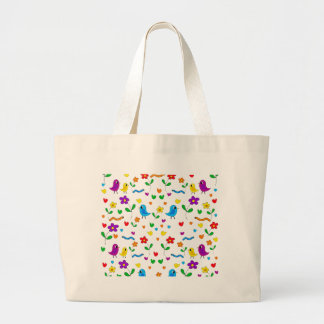 Cute birds and flowers pattern large tote bag
