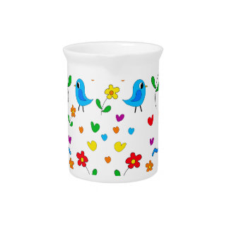 Cute birds and flowers pattern pitcher