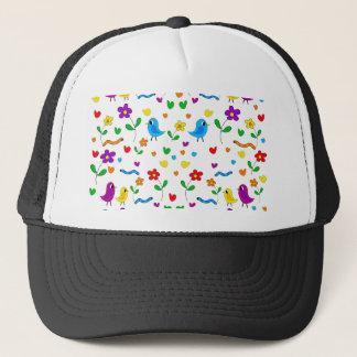 Cute birds and flowers pattern trucker hat