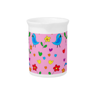Cute birds and flowers - pink pitcher