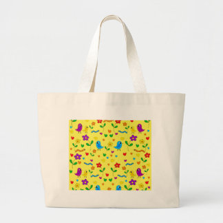 Cute birds and flowers - yellow large tote bag