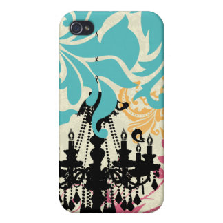 Cute Birds Black Chandelier Tan Damask iPhone Case For iPhone 4