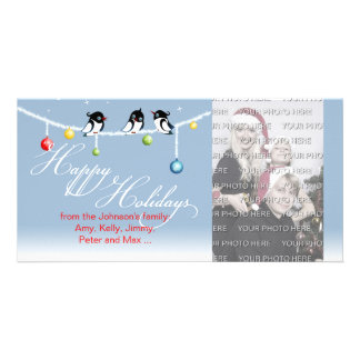 Cute Birds Christmas Globes Happy Holidays Picture Card