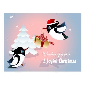 Cute Birds Christmas Present Postcard