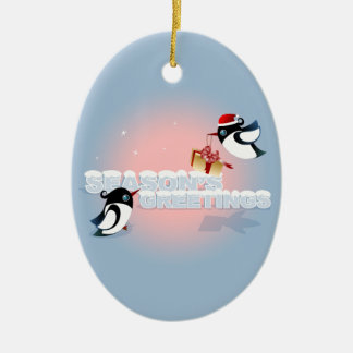 Cute Birds Christmas Present Seasons Greetings Ceramic Oval Decoration