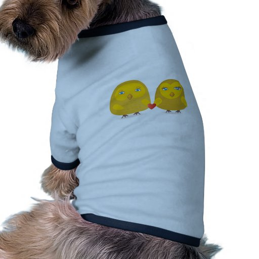 Cute birds couple in love dog clothes