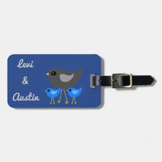 Cute birds family luggage tag