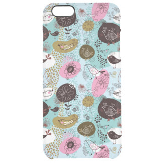 Cute Birds & Flowers Pattern In Brown Pink & Blue Clear iPhone 6 Plus Case