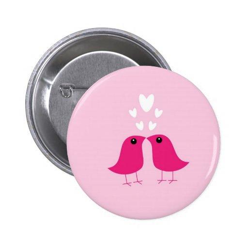 Cute birds love hearts button, pin, valentine gift