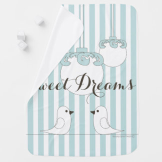 Cute Birds Modern Classic Baby Blue Striped Baby Blanket