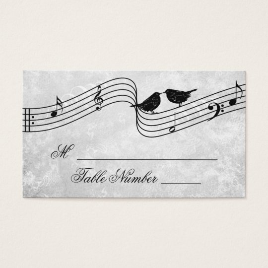 Cute Birds Music Wedding Seating Table Place Cards
