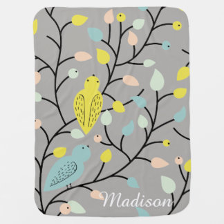 Cute Birds on Branch | Floral Baby Blanket
