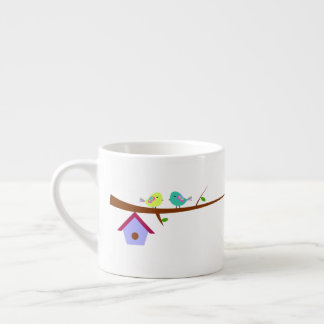 Cute birds on branches espresso cup