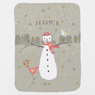 Cute Birds & Snowman & Birds Christmas Scene Baby Blanket