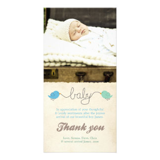 Cute Birds Thank You Note Baby Boy Photo Template Custom Photo Card