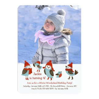 Cute Birds with Winter Clothes Photo Card