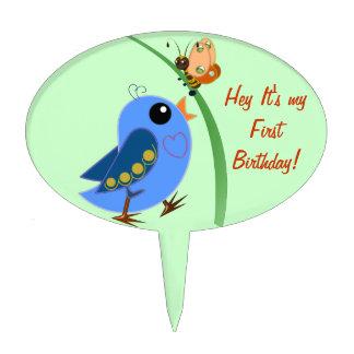 Cute Birthday cake pick with Baby Bird