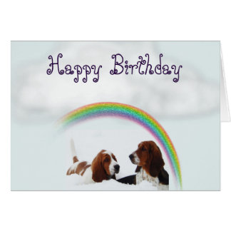 Cute Birthday Card w/Basset Hounds and Rainbows