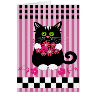 Cute birthday card with cat offering flowers