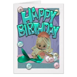 Cute Birthday Card With Mermaid
