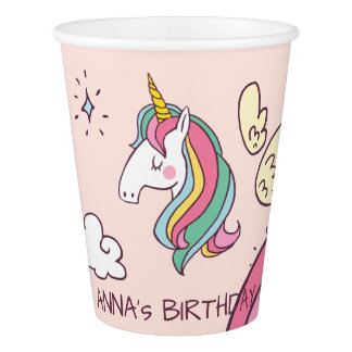 Cute Birthday Doodle Flying Rainbow Unicorn Paper Cup