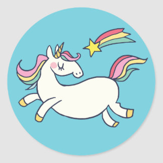 Cute Birthday Doodle Rainbow Unicorn and Stars. Classic Round Sticker