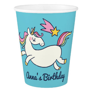 Cute Birthday Doodle Rainbow Unicorn and Stars Paper Cup