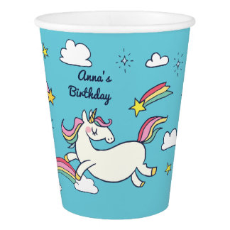 Cute Birthday Doodle Rainbow Unicorn Stars Clouds Paper Cup