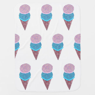 Cute Birthday Double Ice Cream In Cone Tiled Baby Blanket