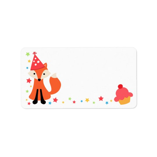 Cute birthday fox, cupcake and stars blank label