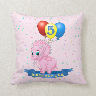 Cute Birthday Girl Pink Baby Triceratops Dino Cushion