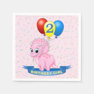Cute Birthday Girl Pink Baby Triceratops Dino Disposable Serviettes