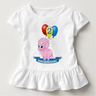 Cute Birthday Girl Pink Baby Triceratops Dino Toddler T-Shirt