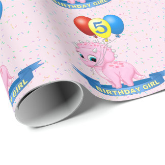 Cute Birthday Girl Pink Baby Triceratops Dino Wrapping Paper